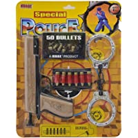 TANMAN Special Police Gun Set with 50 Bullets and Handcuffs (Brown)