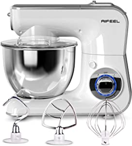 Aifeel Stand Mixer - 1000W 3 in 1 Mixers Kitchen Electric Stand Mixer with 4.3QT Food Grade Bowl, Beater Balloon, Whisk, Dough Hook, LED Display and 5 Speed Settings (Silvery White)