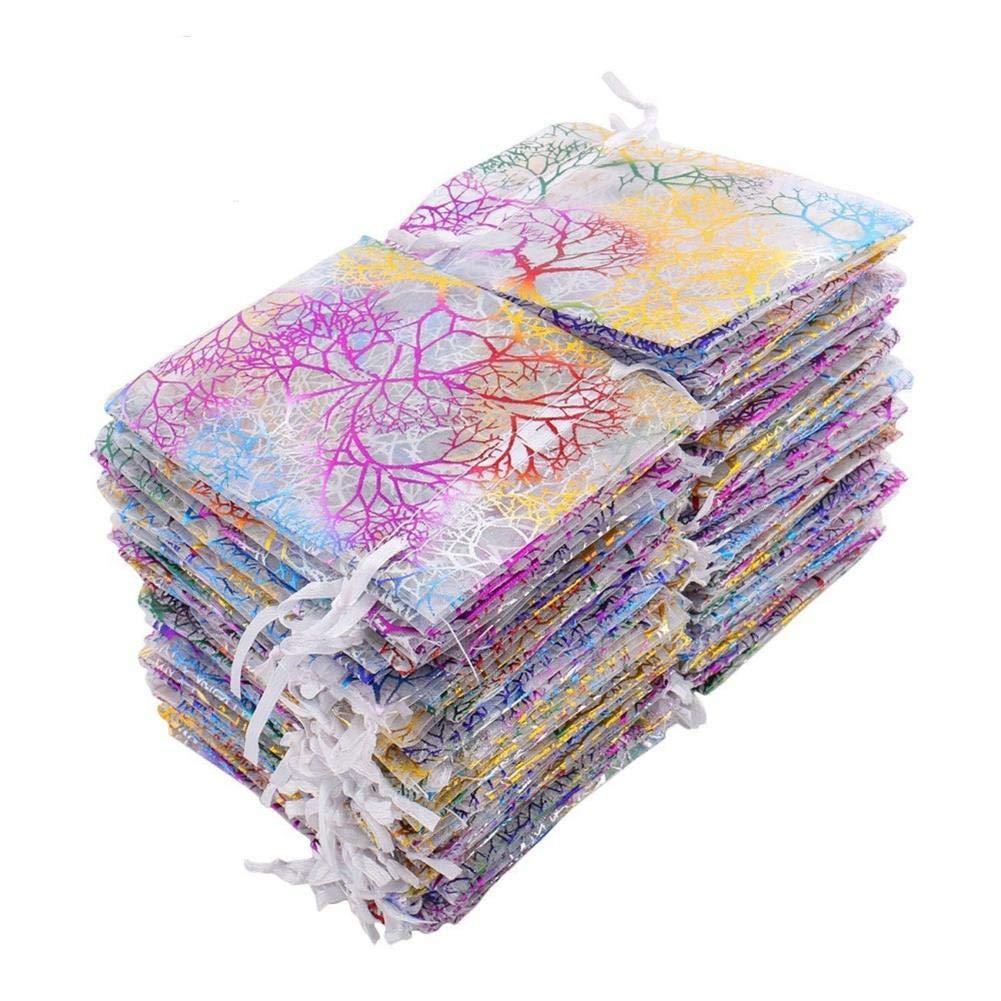 Soleebee 100 Pz Modello di corallo Organza sacchetto di gioielli sacchetto del regalo Satchel di cerimonia nuziale solido sacchetti del partito sacchetto di gioielli caramelle sacchetto di cioccolato della festa con Doppio coulisse sacchetti regalo 9x12 cm