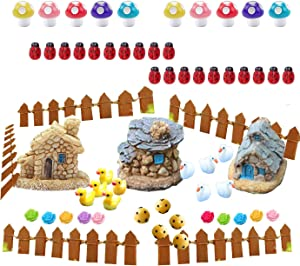 Scettar 63 PCS Miniature Fairy Garden Accessories, Garden Ornaments Decorations-Miniature Fairy Garden Cottage, Dollhouse Ornaments Decor & Mini Figurines of Animals for DIY Making and Decoration