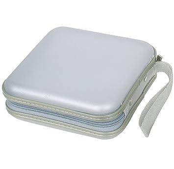DIGIFLEX Caja de Protección Dura/Estuche Duro de Transporte y Almacenaje para 40 CDs, Plástico, DVDs y Discos de Ordenador de Color Plata