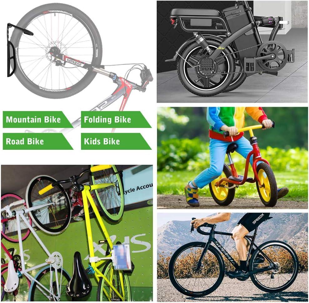 Ganchos para Bicicleta de Acero Ajustable para Bicicleta Nuovoware Soporte de Pared para Bicicletas Retenci/ón de Montaje con Tornillos Ahorro de Espacio para Colgar Bicicletas Soporta hasta 66 lb