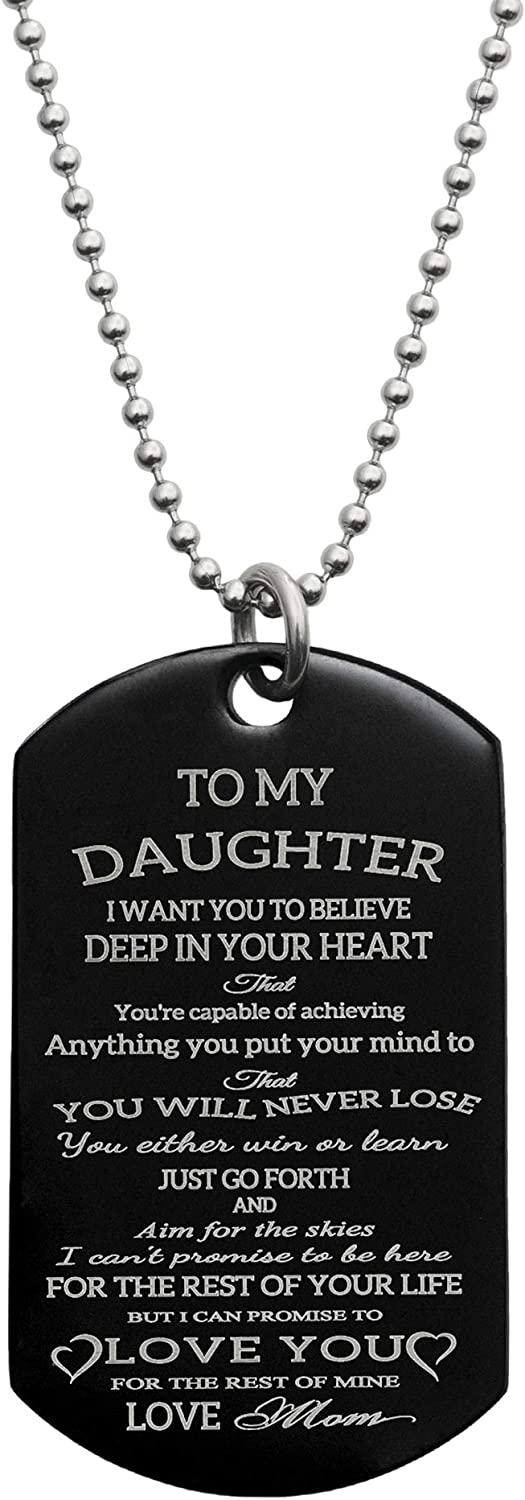 Queenberry Personalized Text Photo Engraved Pendant Necklace Stainless Steel Custom Dog Tag Military Blessing Love Note