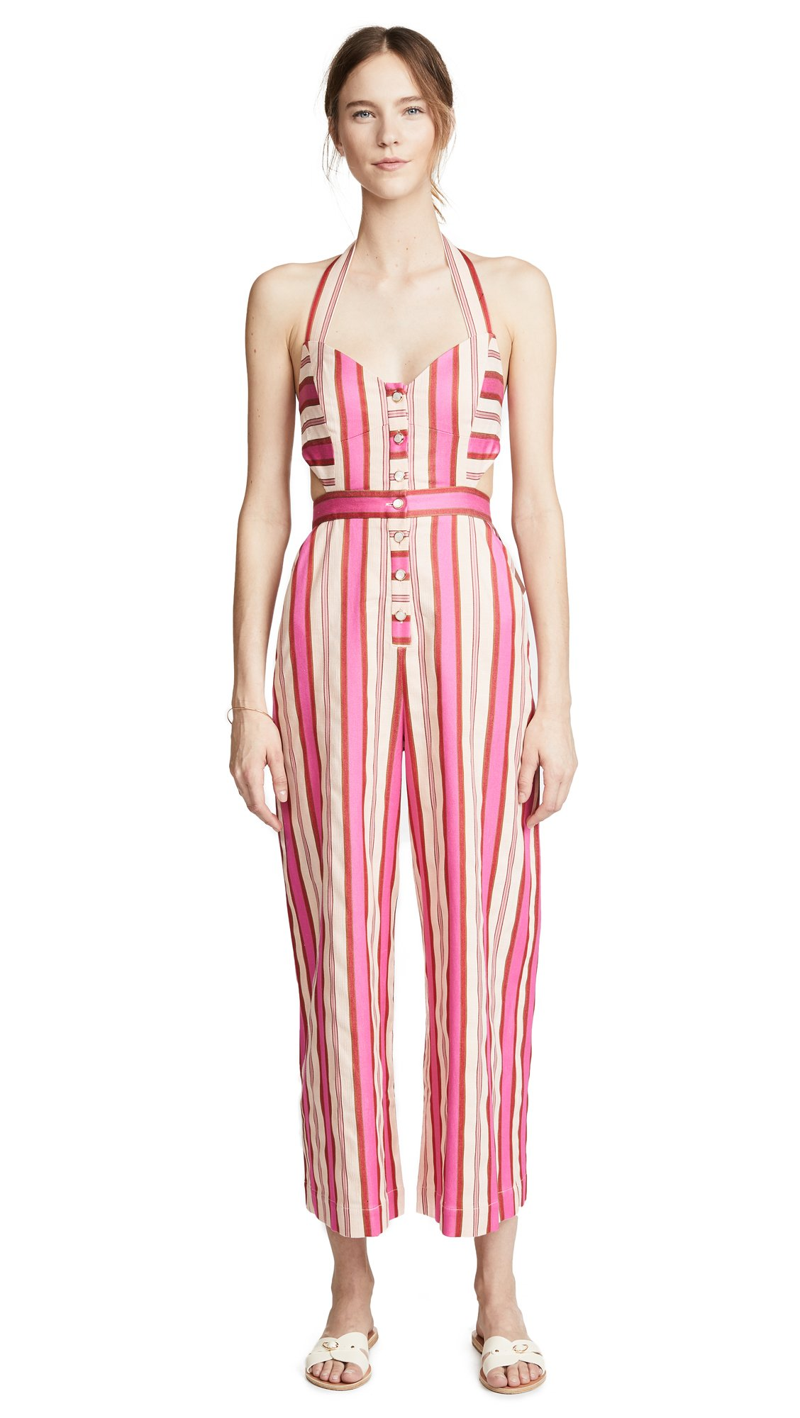 TEMPERLEY London Women's Pine Tree Jumpsuit, Peach Mix, 8