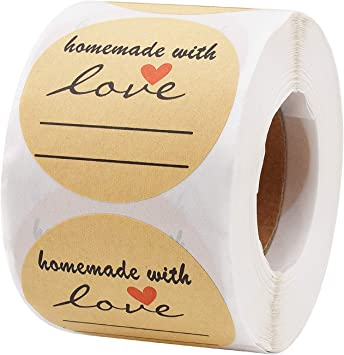 Black Font and Red Heart Canning Jar Labels Round Kraft 500 Love Labels per roll Sunmall 2 Homemade with Love Sticker with Lines for Writing