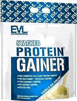 Evlution Nutrition Stacked Protein Gainer Polvo de Proteína con 50 Gramos de Proteína, 12 Gramos de BCAA y 10 Gramos of Glutamina (Helado de Vainilla, ...