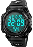 CIVO Mens Digital Sports Military Watches Big Numbers 50M Waterproof Simple Design Army Wrist Watch LED Back Light Casual Watch for Men Rubber Black