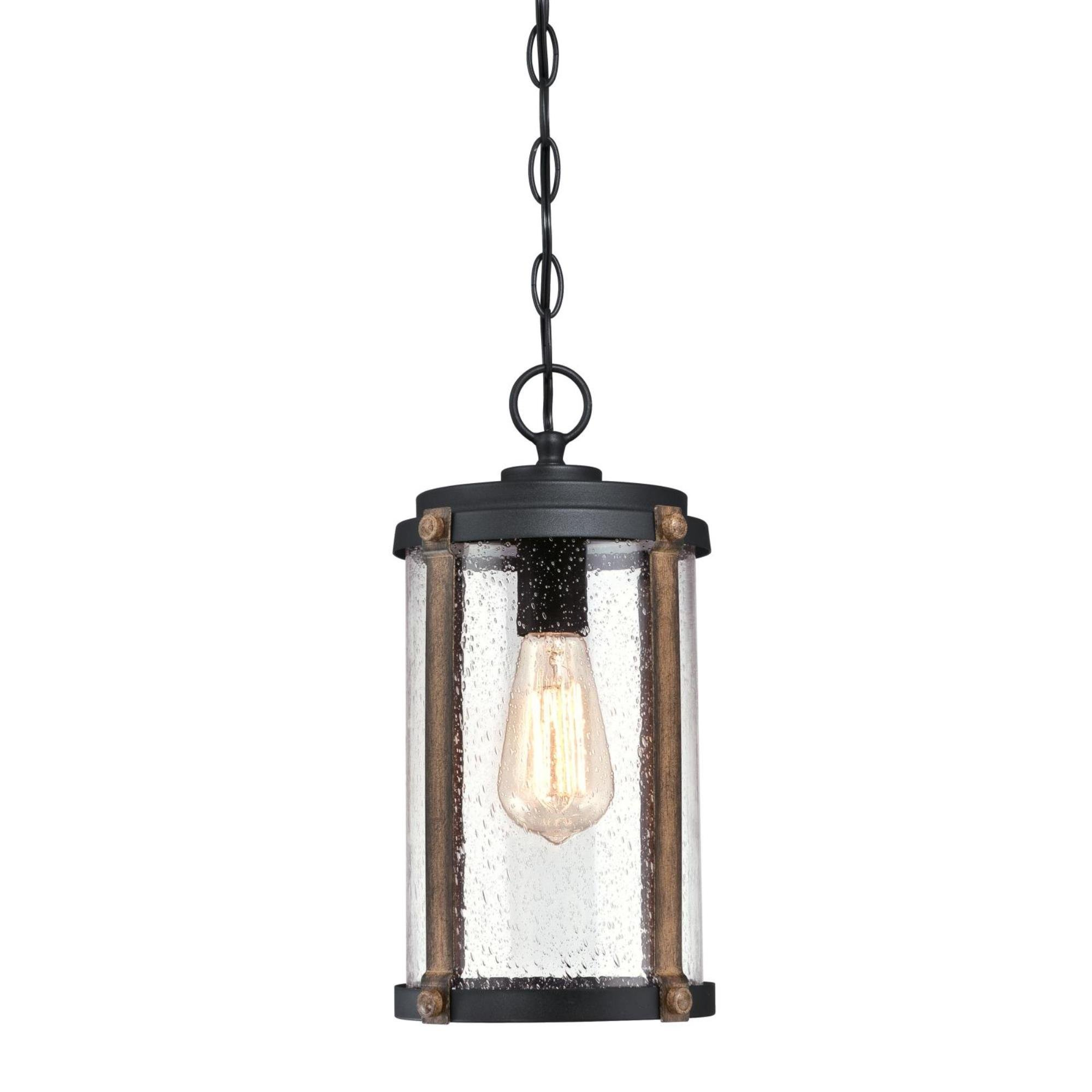 Westinghouse Lighting 6358900 Armin One-Light, Textured Black Finish with Barnwood Accents and Clear Seeded Glass OUTDOOR PENDANT, by Westinghouse Lighting