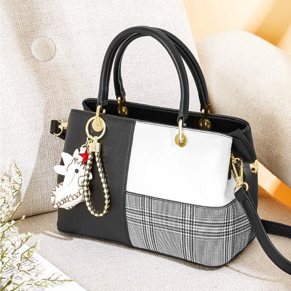 Xxw lamp Female Bag Stitching Contrast Color Handbag The New New Plaid Small Bag Wild Single Shoulder Messenger Bag Tide