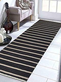Rugsotic Carpets Hand Woven Kelim Woolen 3u0027 X 13u0027 Contemporary Runner Rug  Charcoal Cream