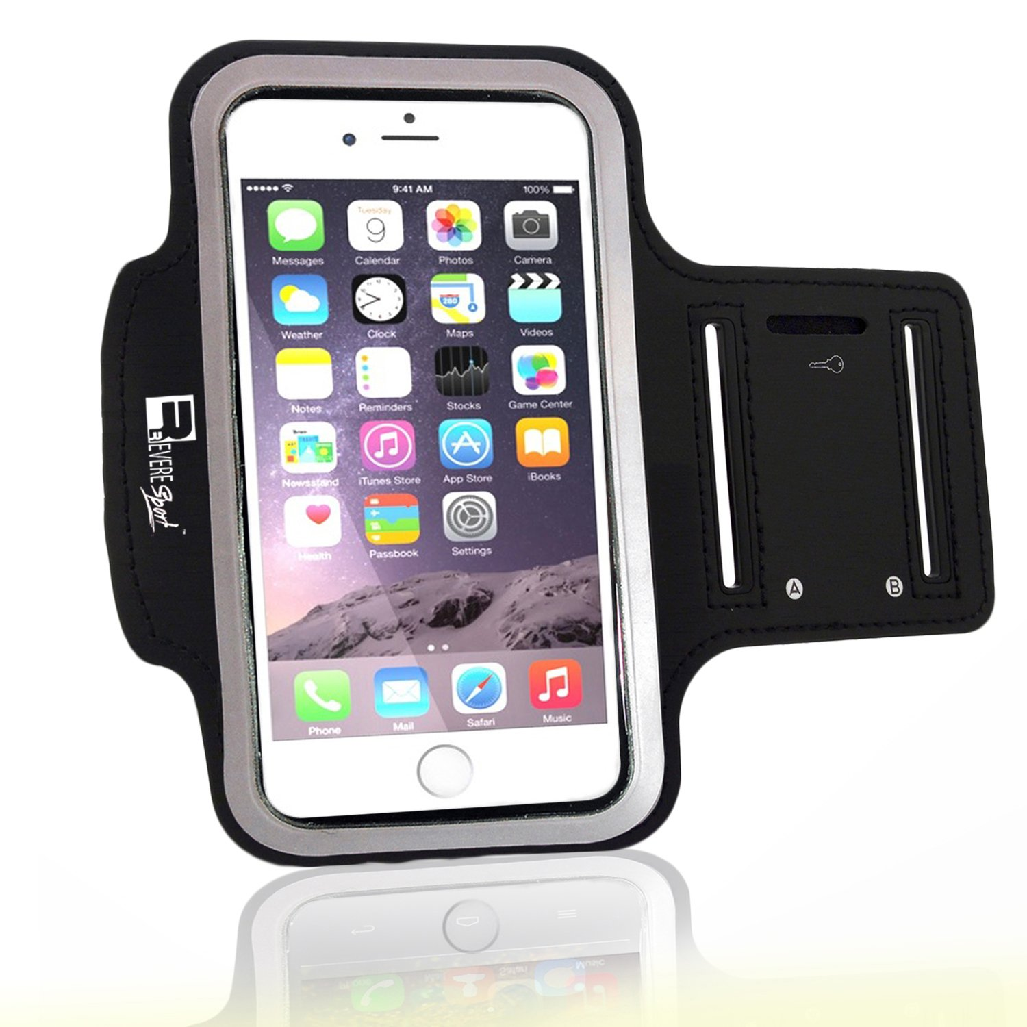 Premium iPhone 7 Plus/iPhone 8 Plus Running Armband with Fingerprint ID Access. Sports Phone Arm Case Holder for Jogging, Gym Workouts & Exercise by Revere Sport