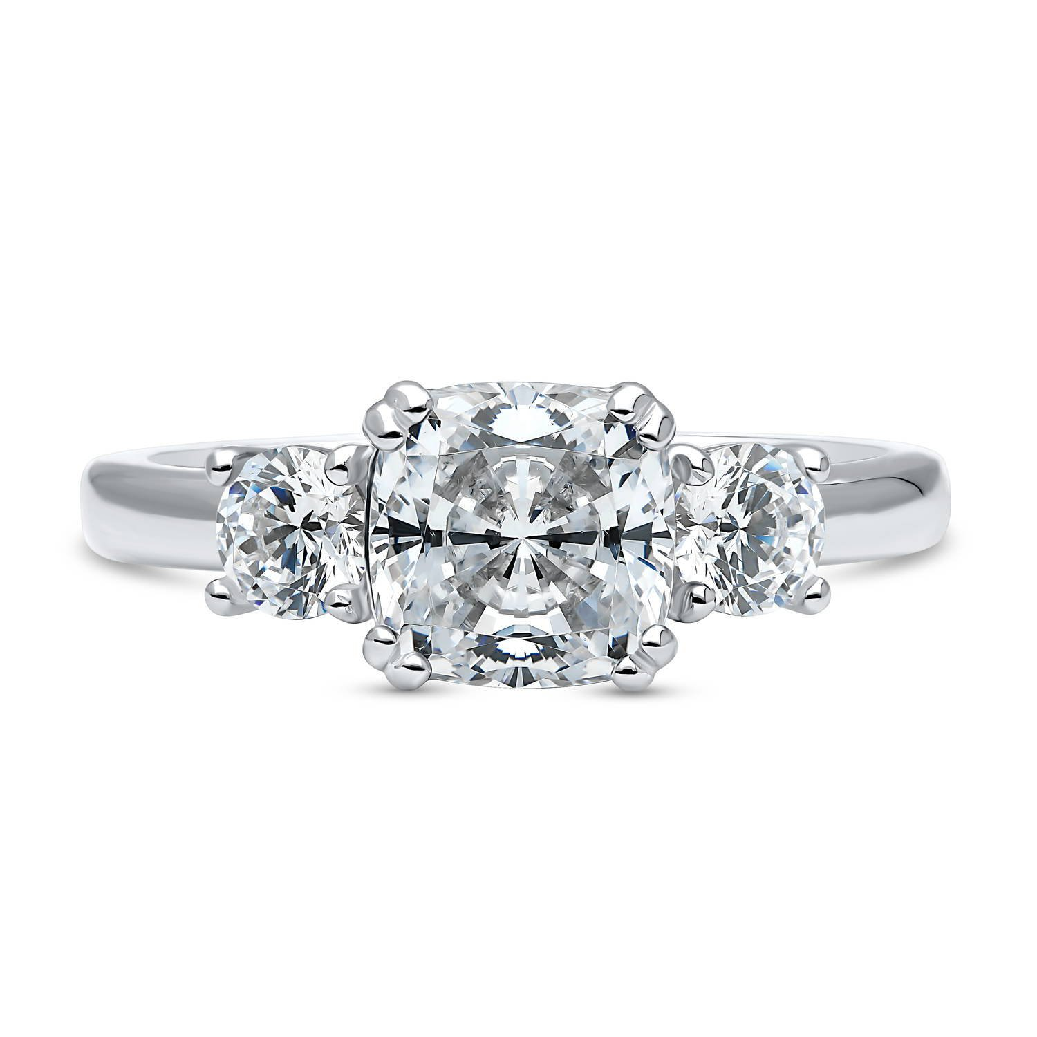 BERRICLE Rhodium Plated Silver Cushion Cut Cubic Zirconia CZ 3-Stone Promise Engagement Ring Size 8.5 by BERRICLE (Image #2)
