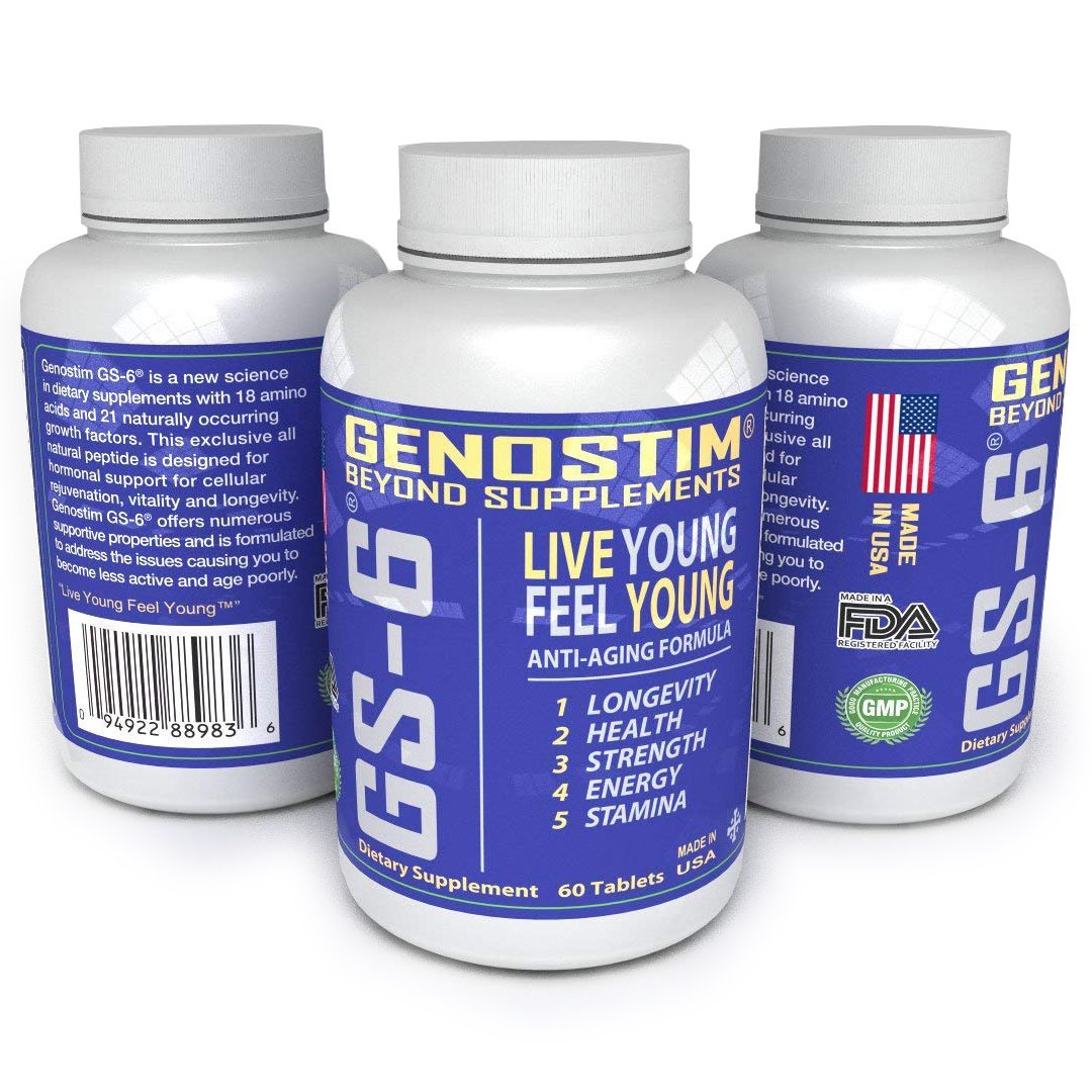 GENOSTIM GS-6 Accelerated Cellular Recovery - Natural Anti-Aging Protein Peptide Supplement - 60 Tablets