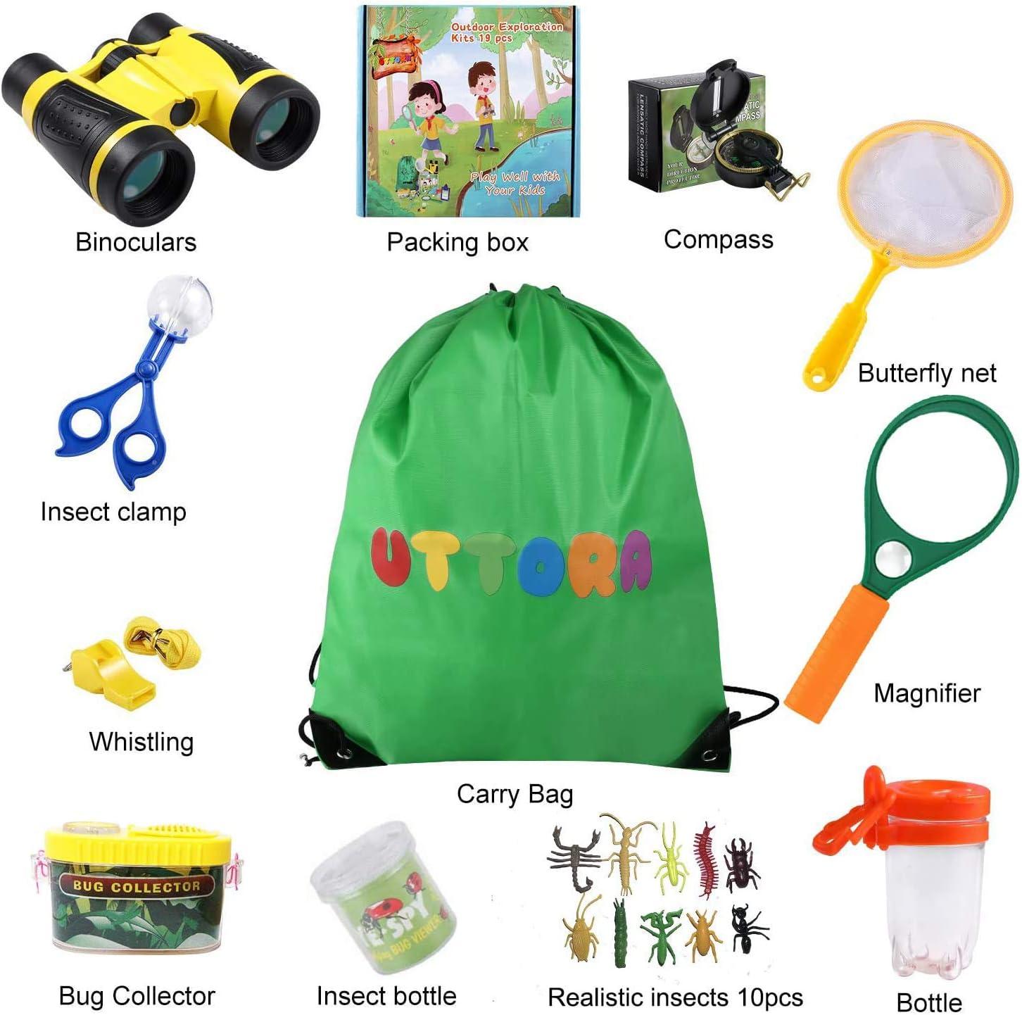 UTTORA Prismaticos niños,Kit de Binoculares para Niños ,Regalos para niños,Kit Explorador niños,Juguetes niños 3-12 de Aventura al Aire Libre Juguetes educativos(22Piezas): Amazon.es: Juguetes y juegos