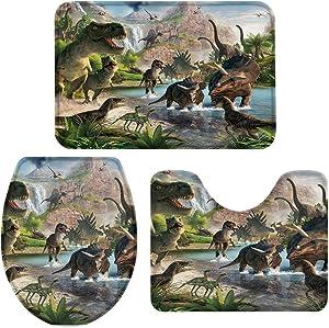 OneHoney 3-Piece Bath Rug and Mat Sets, Jurassic Garden Dinosaur Non-Slip Bathroom Doormat Runner Rugs, Toilet Seat Cover, U-Shaped Toilet Floor Mat Cartoon Animal World Large