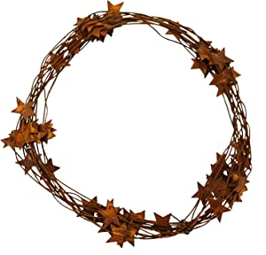 Small Rusty BARN Star Garland - XL Long 24' Metal Rustic Primitive Country Banner Stars Wire Garland Indoor Outdoor Light Christmas Thanksgiving Party Decor. Great on Mantle, Tables, Staircase, Porch