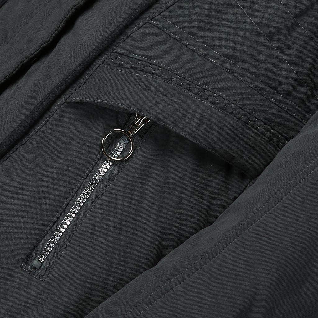 Womens Fleece Lining Coat with Faux Fur Hood Rikay Thicken Winter Drawstring Jacket Long Parka Puffer Jacket M-XXL Gray