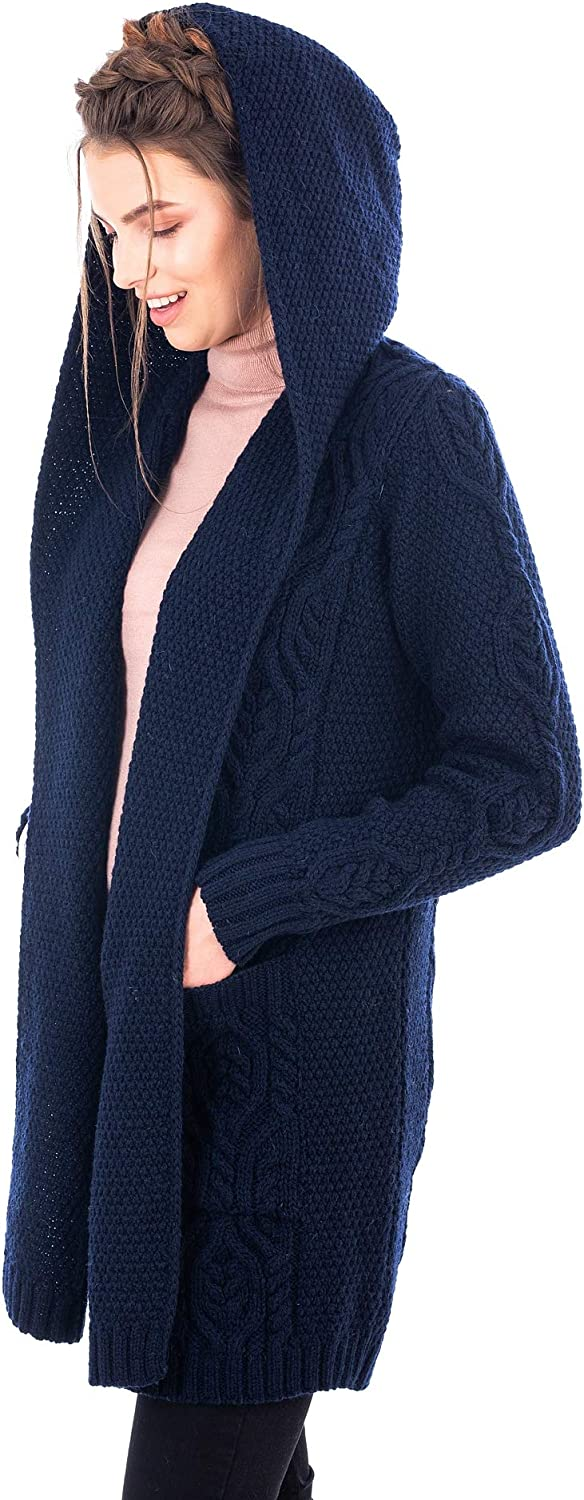 100% Merino Wool Ladies Irish Classic Fit Long Cardigan With Hood