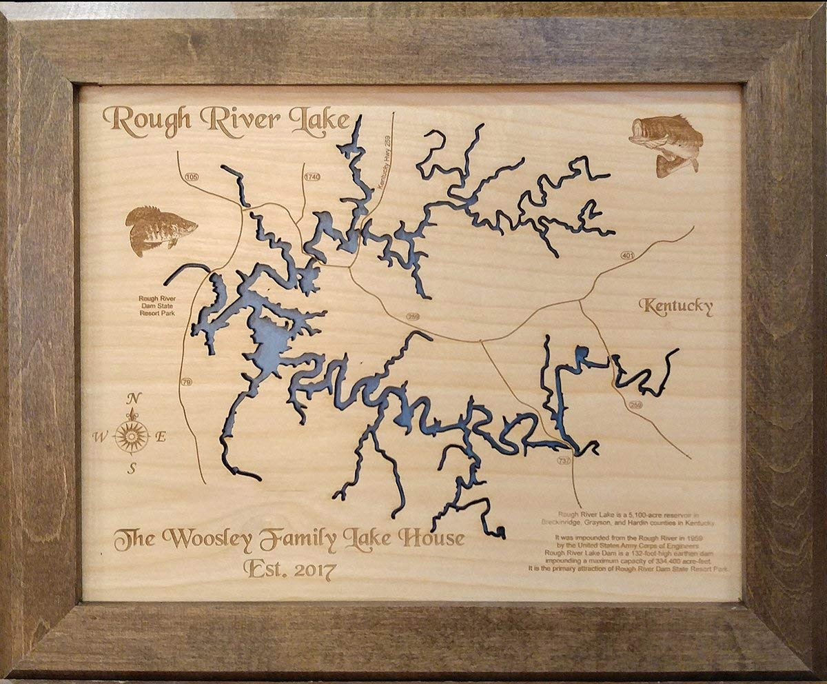 rough river lake map Amazon Com Rough River Lake Kentucky Framed Wood Map Wall rough river lake map