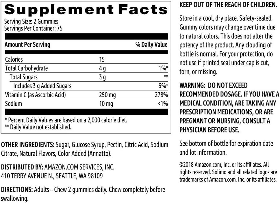 Brand - Solimo Vitamin C 250mg, 150 Gummies (2 Gummies per Serving), Immune Health: Health & Personal Care