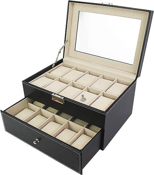 Todeco - Caja de Relojes, Caja de Almacenamiento de Relojes y Pulseras - Tamaño: 28,5 x 20,5 x 15 cm - Material de la Caja: MDF - 20 Relojes con cajón y Pantalla, Negro/Beige: Amazon.es: Hogar