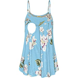 55989af139eac Baikea Womens Sleeveless Floral Layering Cami Tanks Latched Mama Nursing  Tops