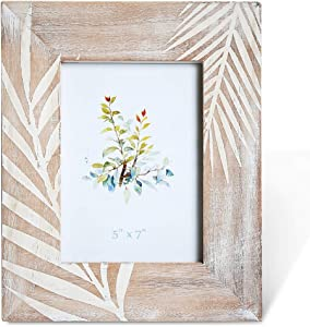 BOLUO Tropical Picture Frames 5x7 Distressed Wood Photo Frame Leaf Rustic Decor Palm Leaves (Palm-5x7)