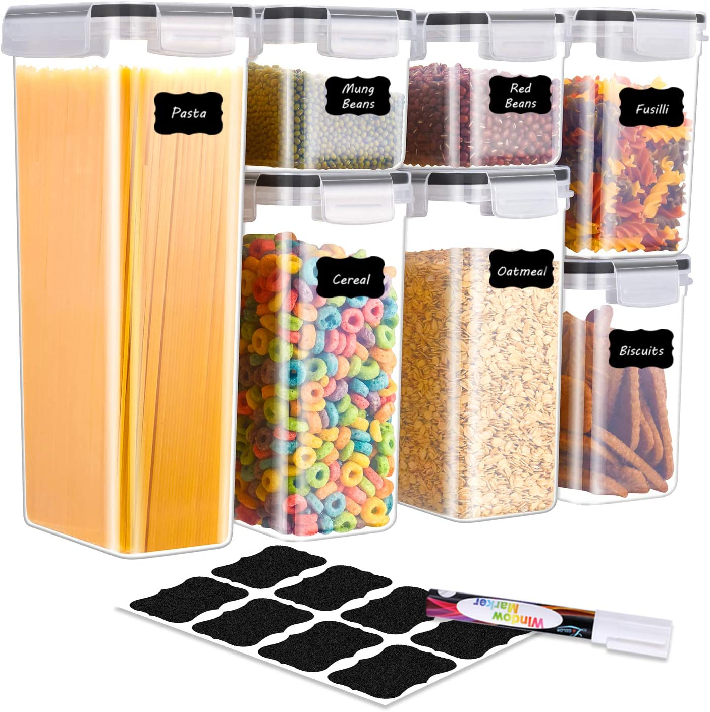 BINLAN Food Storage Containers - [7 Piece] Airtight Food Storage Containers - Large Kitchen Pantry Storage Container Set - Dispenser Keepers with 20 Labels & Pen - Black