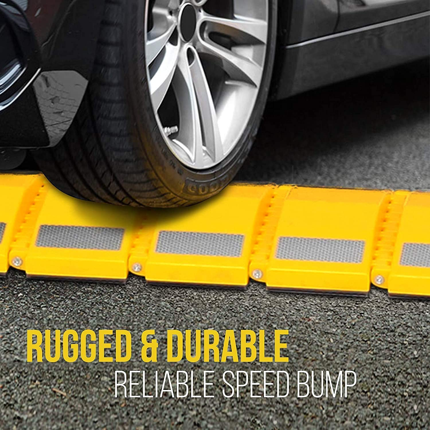 GRELWT Portable Vehicle Traffic Speed Bump 10 Feet Heavy Duty Reflective Plastic Humps