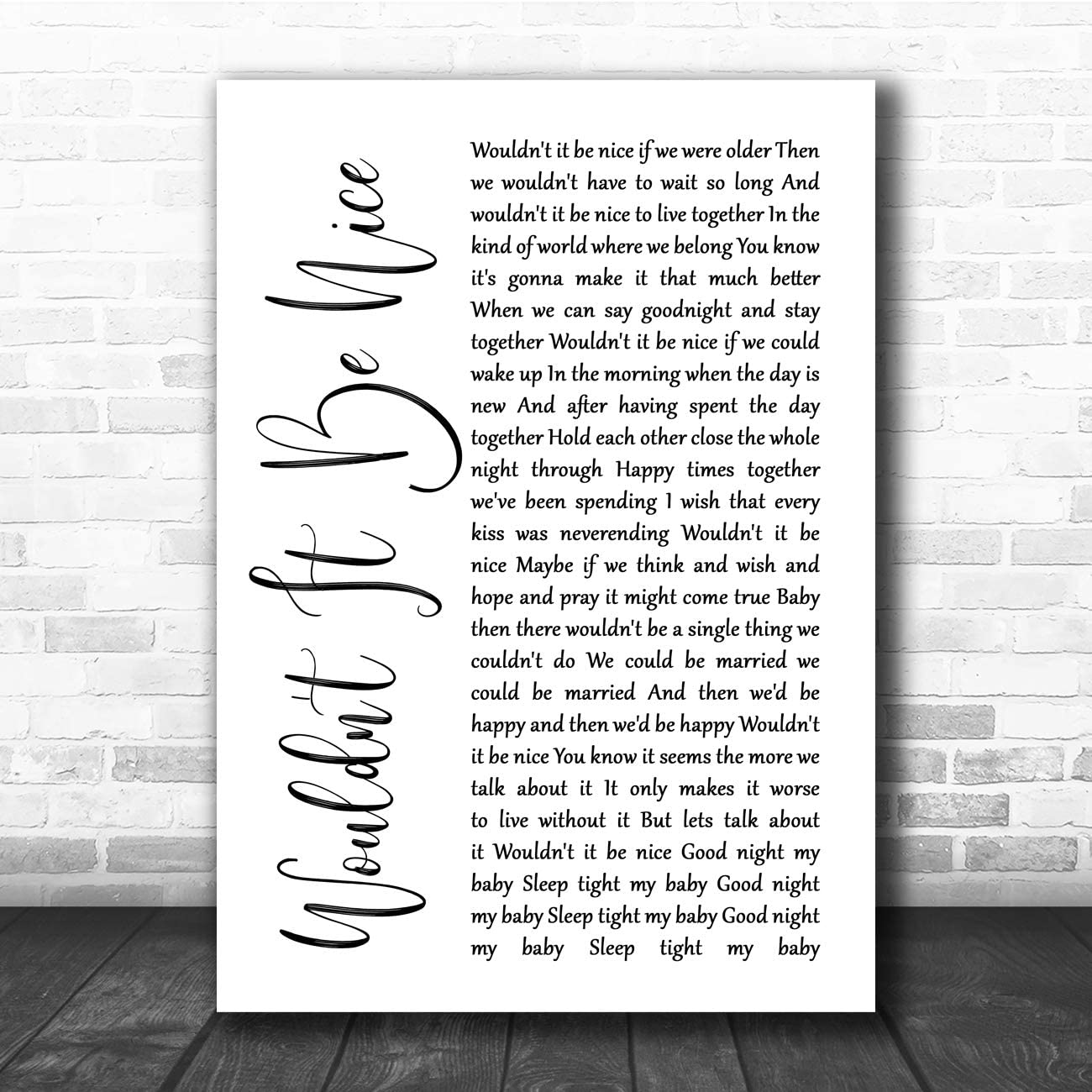 It/'s My Turn White Script Song Lyric Print