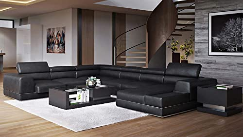 Zuri Furniture Wynn Black Leather Sectional Sofa with Adjustable Headrests – Right Chaise