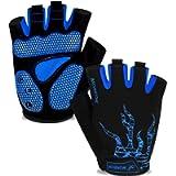 MOREOK Mens Cycling Gloves,Half Finger Biking Glove MTB DH Road Bicycle Gloves Gel Pad Shock-Absorbing Anti-Slip…