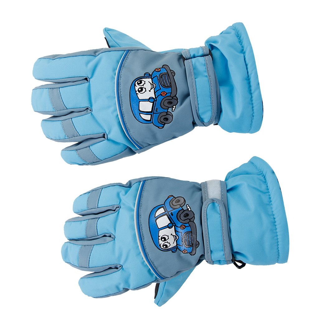 1Pair Anti-slip Breathable Winter Warm 6-8 Years Children Kids Ski Skating Gloves Sky Blue Generic