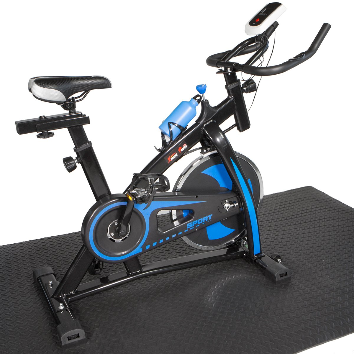 XtremepowerUS Indoor Cycle Trainer Fitness Bicycle Stationary w/Treadmill mat