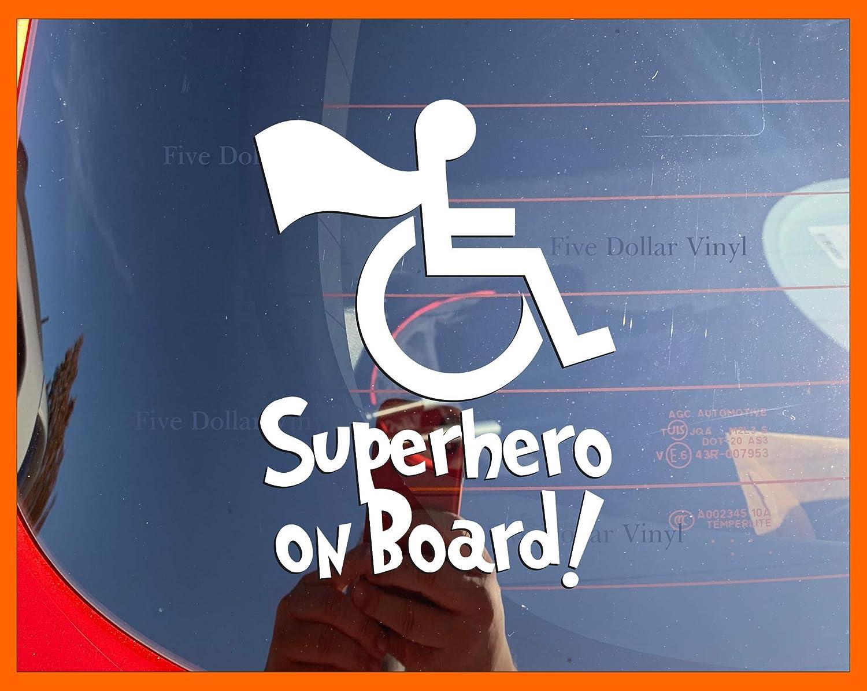 Superhero on Board XS-SMALL Vinyl Car Decal, Hero, Wheelchair, Sticker, Superfriends, Special Needs, Disability, Handicap Window Decal
