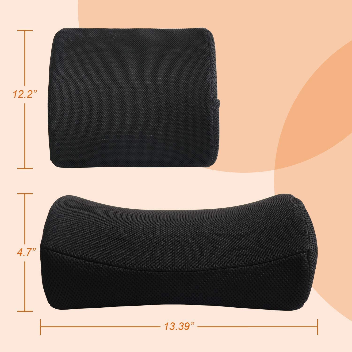 SMUGDESK Memory Foam Lumbar Support Pillow for Car Seat Office Chair Recliner with Breathable Mesh Cover Back Cushion Black
