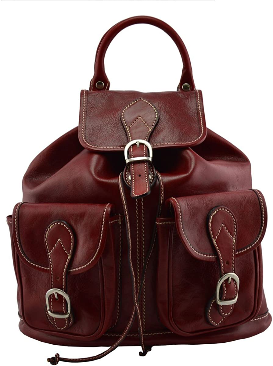 Leather Backpack with Front Pockets Color Red
