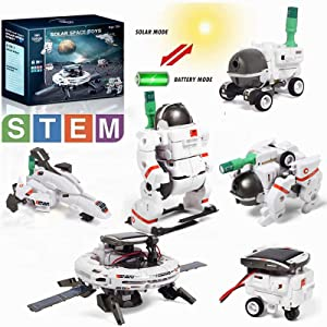 Lehoo Castle Solar Robot Kit Space, 6 in 1 STEM Educational Learing Solar Space Building Toys, DIY Solar Power Learning Science Kit for Kids Aged 10+, Powered by Sunlight or Battery