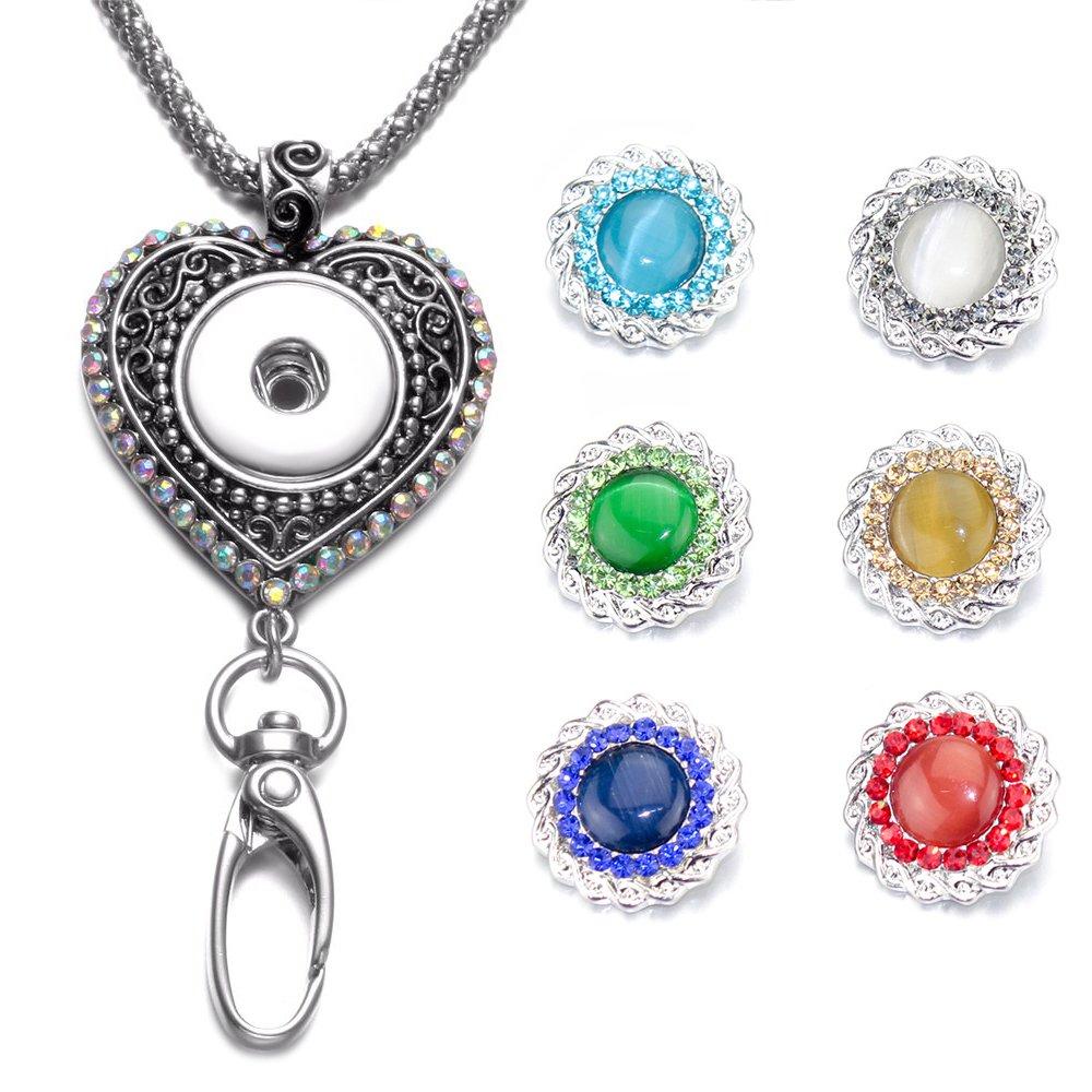 Soleebee 87cm Chaîne en argent interchangeable strass colorés Coeur d'amour ID Badge Lanyard Collier avec 6pcs Boutons-pression d'Alliage en Strass (Opéra de tissage) Yiwu shuoling E-Commerce Co. Ltd ZY-Z02201
