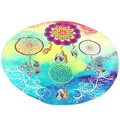 Kinlene Impresión Redonda Hippie Tapicería Playa Picnic Throw Yoga Mat Toalla Manta(Multicolor1): Amazon.es: Ropa y accesorios