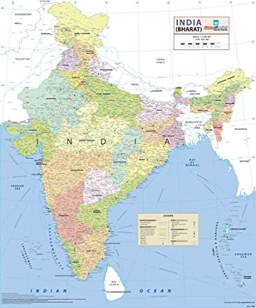 Maps Of India Wall Map Maps Of India Amazonin Office Products - India map