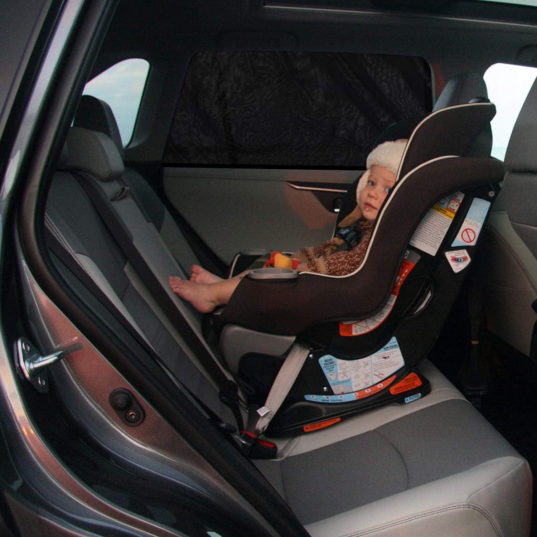 Universal Passform 67cmx130cm AstroAI Auto Sonnenblende Kinder Sonnenschutz Autofenster UV Schutz dehnbares Netzgewebe mit Klettverschluss zur Befestigung 2er Pack, schwarz
