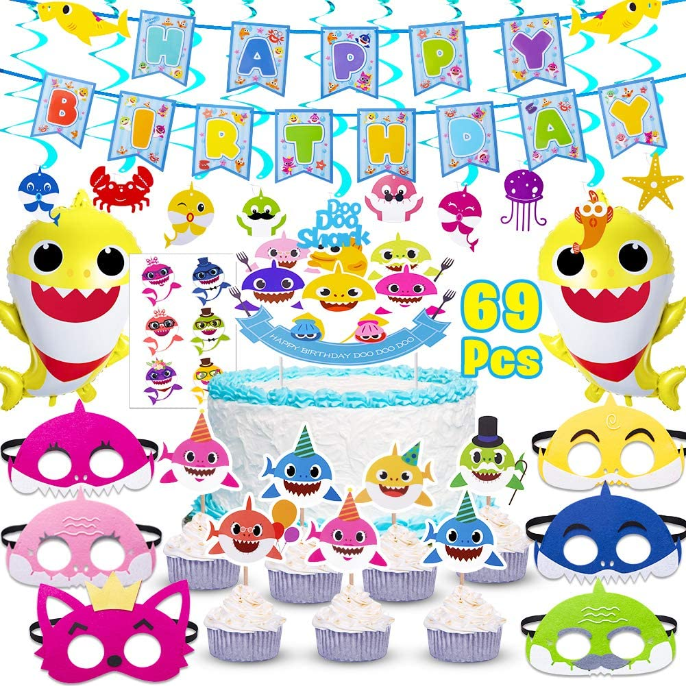 Shark Party Supplies for Baby,69 pcs birthday decorations Includes1 Big Cake topper, 25 Cupcake toppers, 2 Shark Baby Balloons,1 Happy Birthday Banner,6 shark masks,10 Swirl Decorations and 24shark stickers