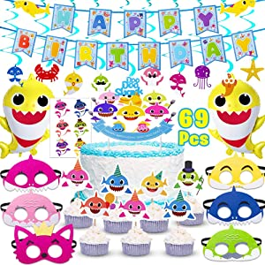 Shark Party Supplies for Baby,69 pcs birthday decorations Includes 1 Big Cake topper, 25 Cupcake toppers, 2 Shark Baby Balloons,1 Happy Birthday Banner,6 shark masks,10 Swirl Decorations and 24 shark stickers