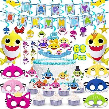 Amazon.com: Suministros de fiesta de tiburón para bebés, 69 ...