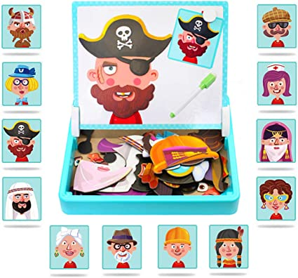 Amazon.com: ZSFLZS Magnetic Puzzles Face Dress Up Travel Game Double Side Preschool Educational Learning Toy for Kids: Toys & Games