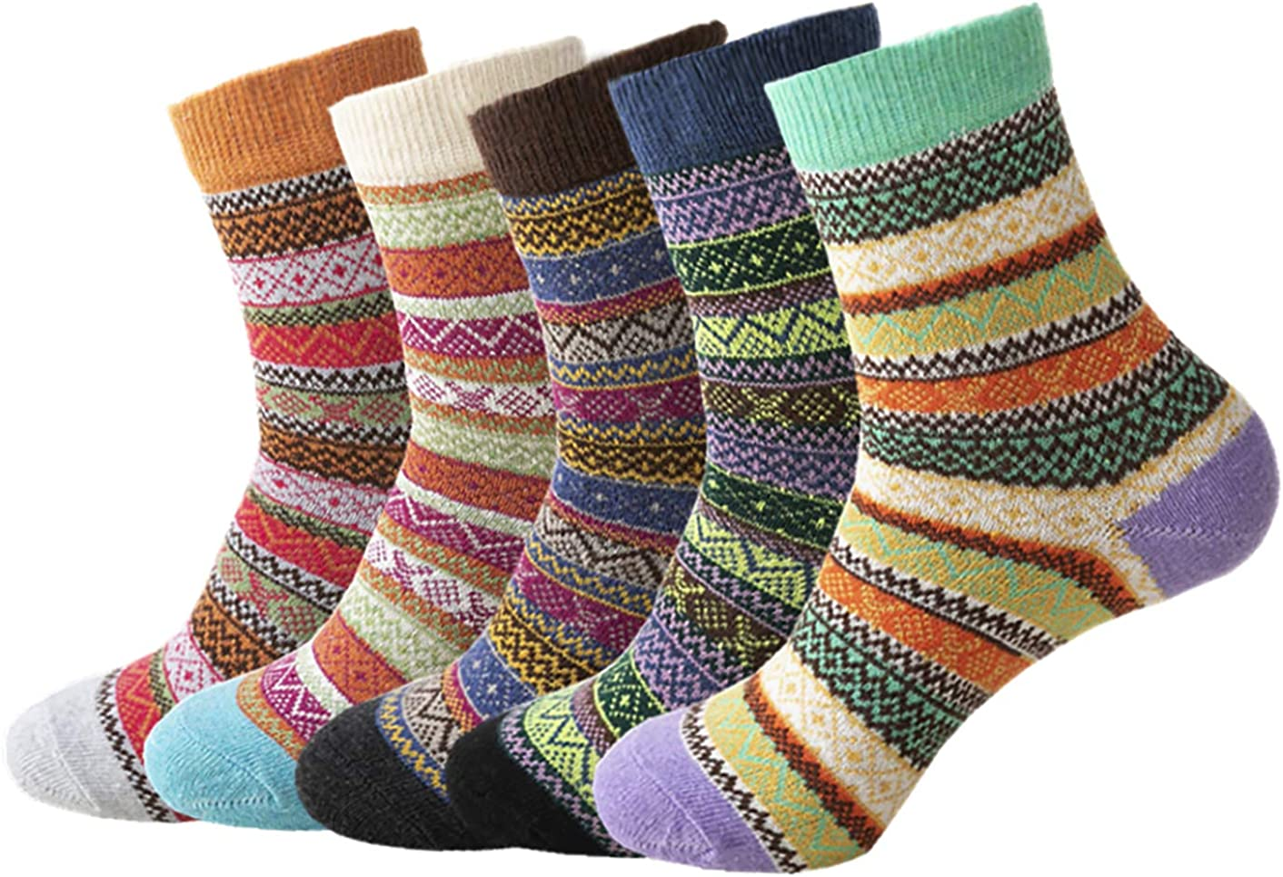 5 Pairs Women Cashmere Wool Thick Warm Soft Casual Multicolor Winter Socks NEW