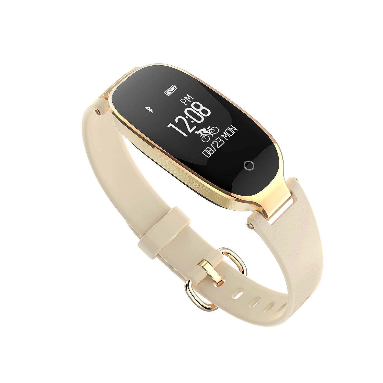 Pulsera inteligente de deportes para mujeres S3 Monitor de ritmo cardíaco Pulsera inteligente de sueño para mujer Smart Reloj de silicona Oro: Amazon.es: ...