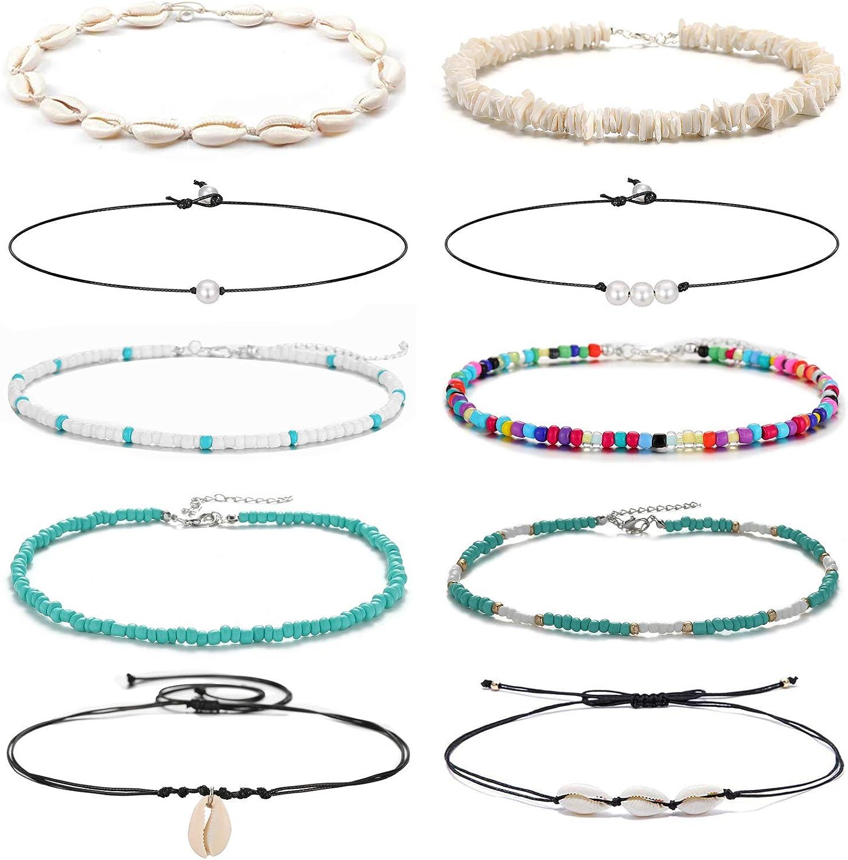 Starain 5pcs Summer Beach Shell Necklace Set for Women Cute Tiny Seed Beads Choker Necklace