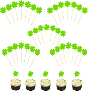 Fashionclubs Shamrock Cupcake Toppers St Patrick's Day Green Cupcake Picks Cake Toppers Appetizer Picks Saint Patty's Day Party Decoration Supplies,40 Counts